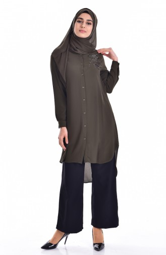 Sequined Asymmetric Tunic 6875-01 Khaki 6875-01