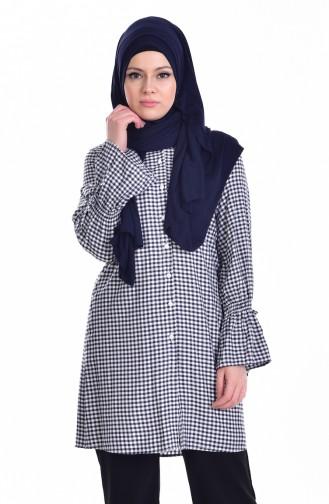 Checkered Tunic 6885-03 Navy Blue 6885-03