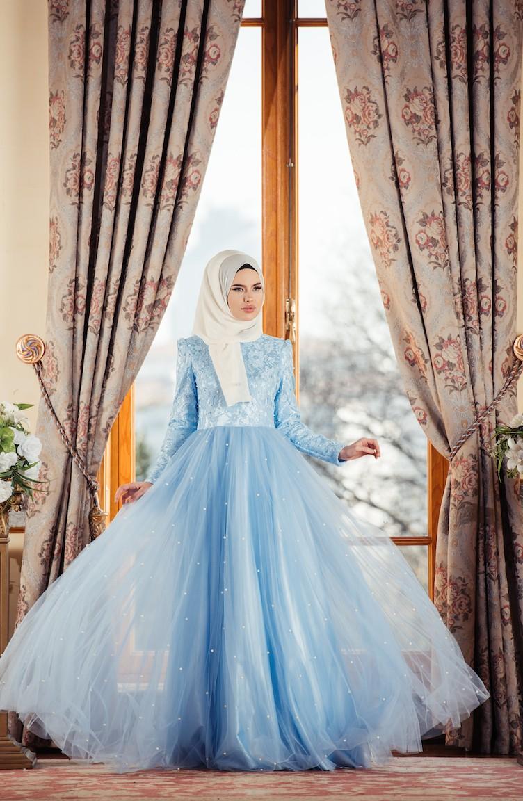 Baby blue Islamic Clothing Evening Dress 0002-02