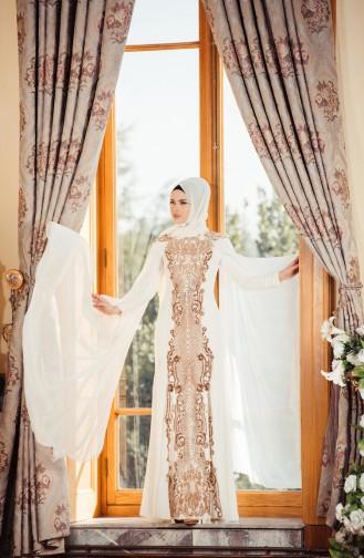 Sequined Evening Dress 7207-01 Light Beige 7207-01
