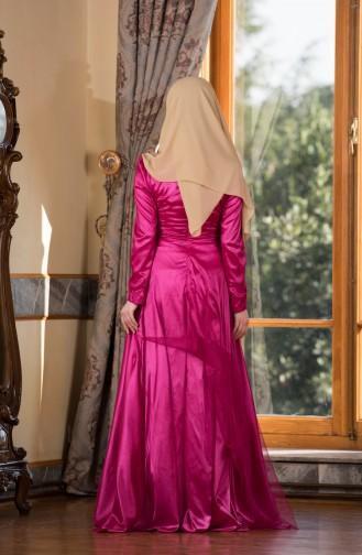 Robe de Soirée avec Pierre 0009-02 Fushia 0009-02