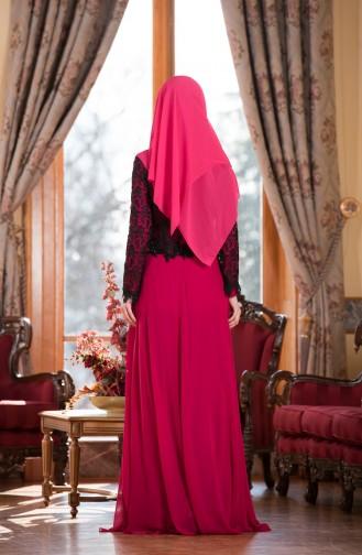 Robe de Soirée en Mousseline a Dentelle 7810-02 Fushia 7810-02