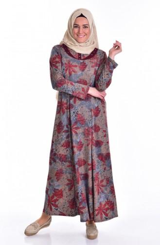 Große Größen Gemustertes Kleid 4438-09 Weinrot Grau 4438-09