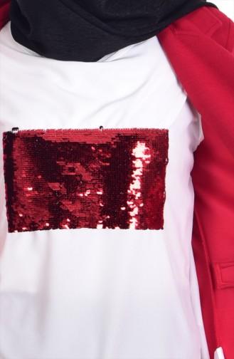 Bluz Ceket İkili Takım 8914-02 Kırmızı 8914-02