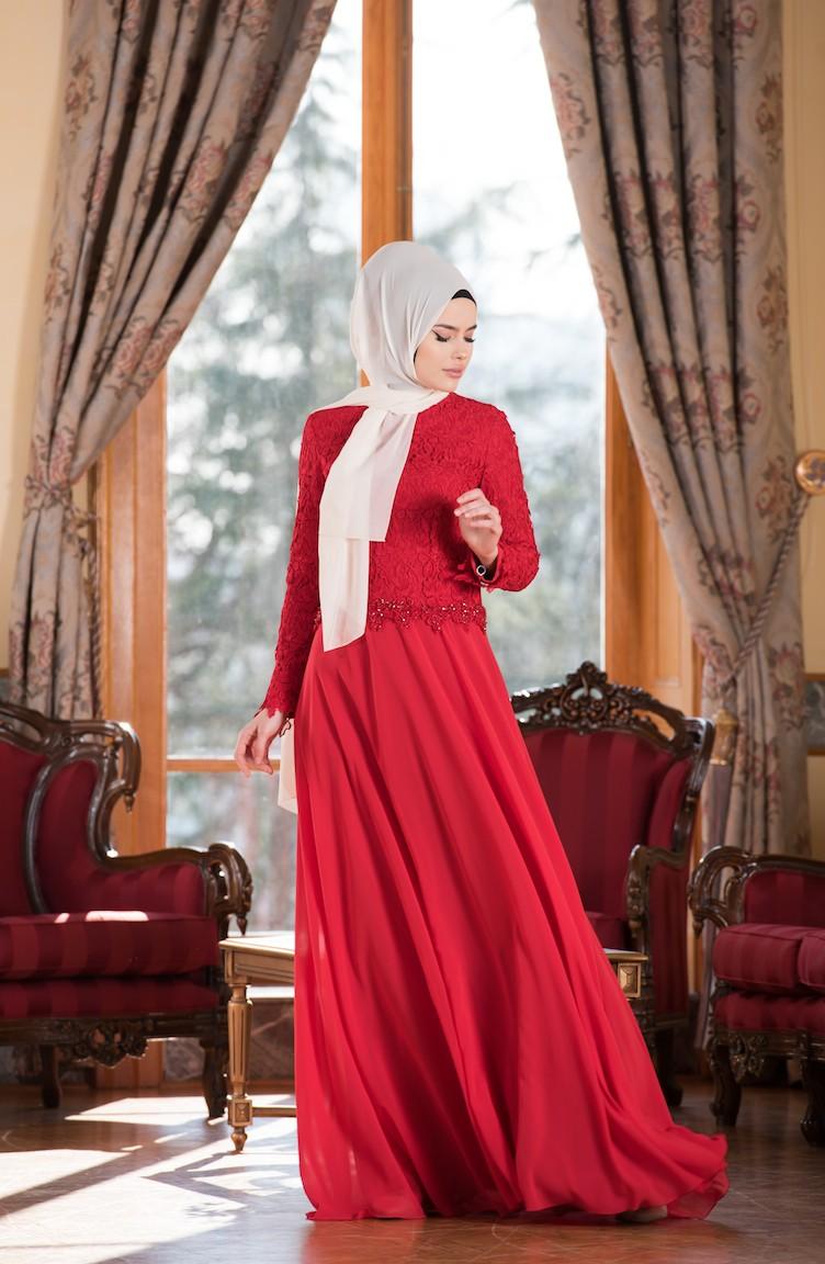 0b198fbc44a5e Güpürlü Şifon Abiye Elbise 7810-03 Kırmızı