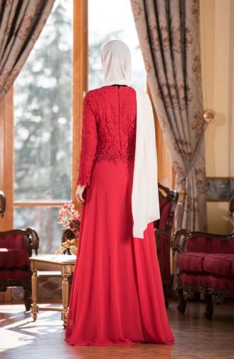 Robe de Soirée en Mousseline a Dentelle 7810-03 Rouge 7810-03