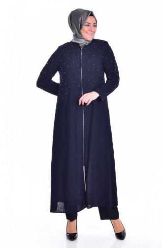 Abaya avec Perles Grande Taille 3017-01 Bleu Marine 3017-01