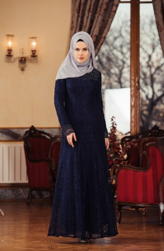 Navy Blue Islamic Clothing Evening Dress 7109-01