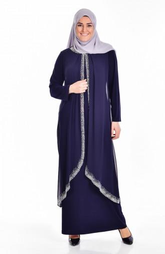 Übergröße Stein Bedrucktes Kleid   6101-01 Dunkelblau 6101-01
