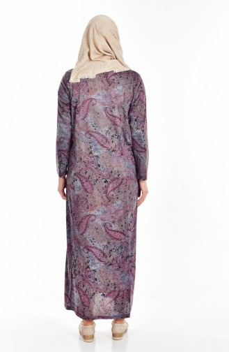 Robe a Motifs Grande Taille 4438-01 Plum 4438-01