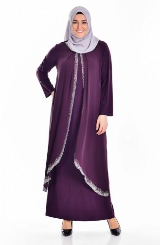 Large Size Stones Printed Dress 6101-02 Plum 6101-02