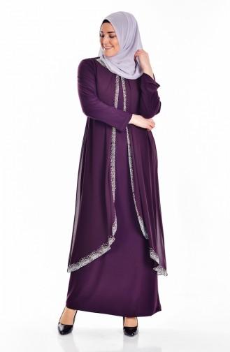 Robe İmprimé de Pierre Grande Taille 6101-02 Plum 6101-02