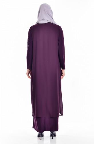 Übergröße Stein Bedrucktes Kleid 6101-02 Zwetschge 6101-02