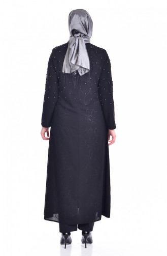 Abaya avec Perles Grande Taille 3017-02 Noir 3017-02