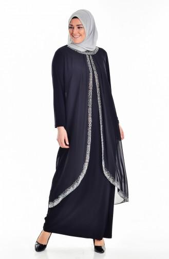 Übergröße Stein Bedrucktes Kleid   6101-03 Schwarz 6101-03