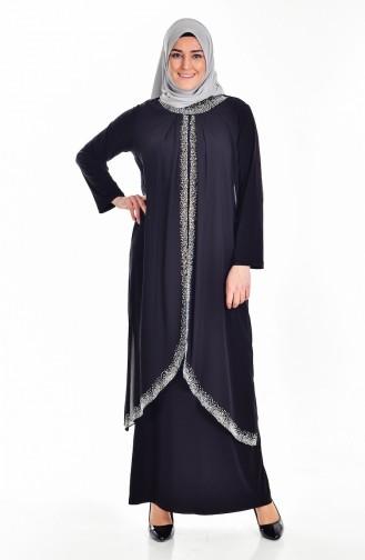 Büyük Beden Taş Baskılı Elbise 6101-03 Siyah