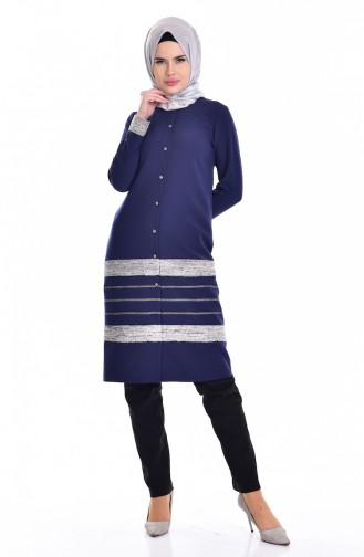 Glittered Tunic 1015-01 Navy Blue 1015-01