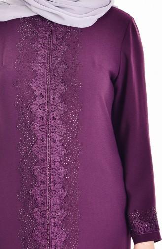 Robe Pierre İmprimé Grande Taille 6104-01 Plum 6104-01