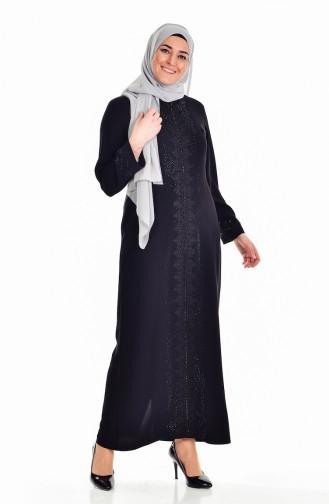 Robe Pierre İmprimé Grande Taille 6104-03 Noir 6104-03