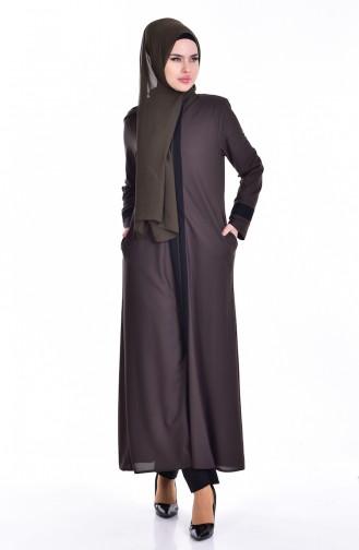 Abaya Garnie a Fermeture 0119-03 Khaki 0119-03