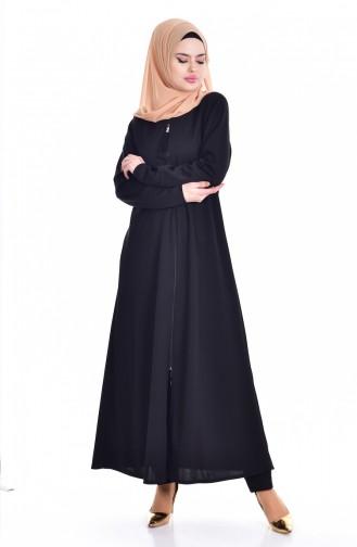 Abaya a Fermeture 1018-01 Noir 1018-01
