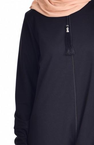 Abaya with Zipper 1018-01 Black 1018-01