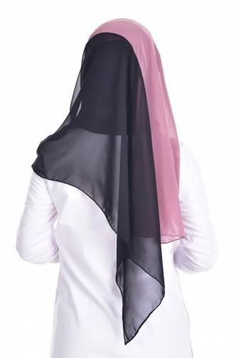 Two-Color Chiffon Shawl 9915-07 Black Rose 9915-07