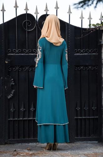 Güpürlü Abiye Elbise 8392-07 Açık Yeşil