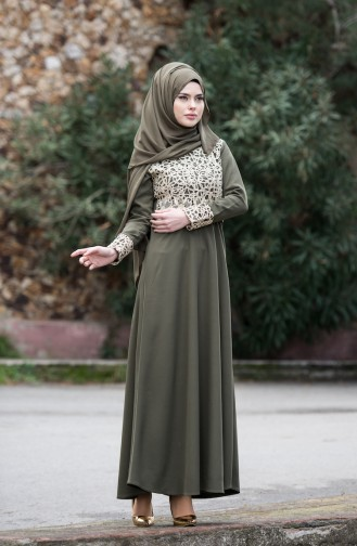 Khaki İslamitische Avondjurk 3019-06