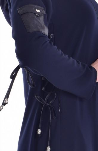 Zippered Abaya 24155-02 Navy Blue 24155-02