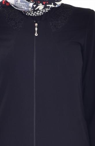 Abaya mit Spilzen  2422-01 Schwarz 2422-01