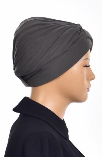 Bonnet Turban Prêt avec Perles 1007-03 Khaki 1007-03