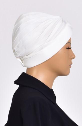 Bonnet Turban Prêt avec Perles 1007-04 Creme 1007-04