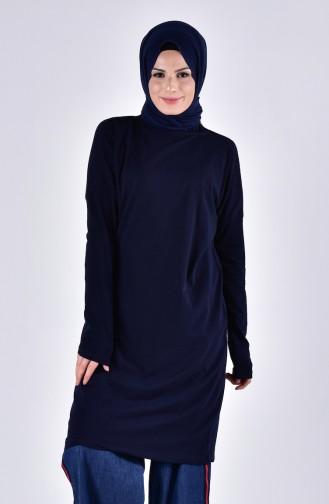 Sefamerve Oversize Peigné Hijab 0413-04 Bleu Marine 0413-04