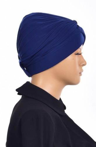Bonnet Turban Prêt avec Perles 1007-09 Bleu 1007-09