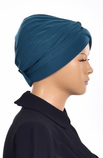 Bonnet Turban Prêt avec Perles 1007-12 Vert emeraude 1007-12