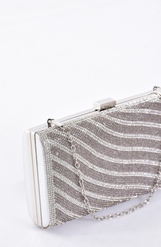 Ladies Evening Bag with Stones 0798-02 Silver 0798-02