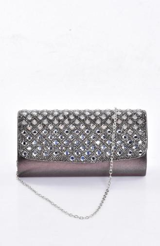 Damen   Quadrat Abendtasche mit Swarovski Steindetail   0487-03 Platin 0487-03