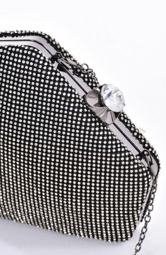 Bayan Taşlı Abiye Çanta 0881-04 Siyah Gümüş