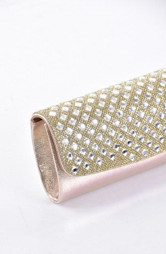Ladies Square Evening Bag with Stones 0487-01 Gold 0487-01