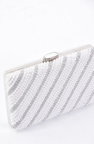 Ladies Pearl Evening Bag 0869-01 White 0869-01