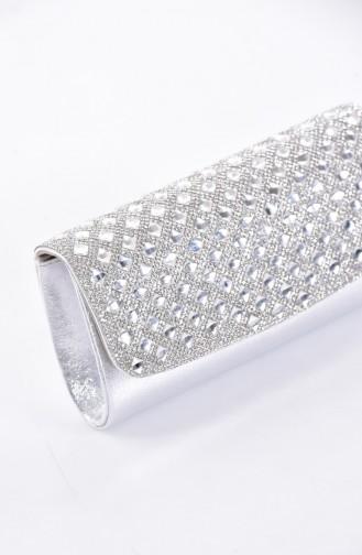 Bayan Kare Taşlı Abiye Çanta 0487-02 Gümüş