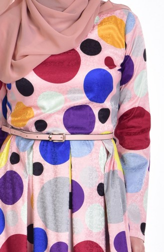 Robe Pointillé avec Ceinture 9448-01 Poudre 9448-01