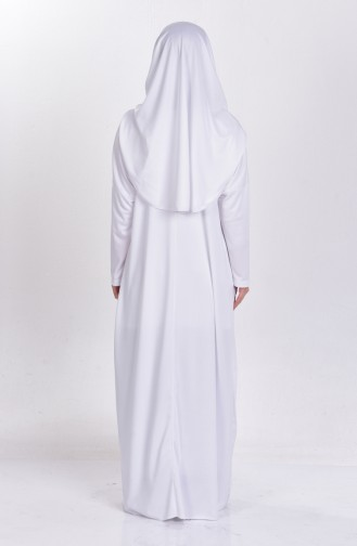 Sefamerve Large Size Practical Prayer Dress with Bag 0900B-08 White 0900B-08