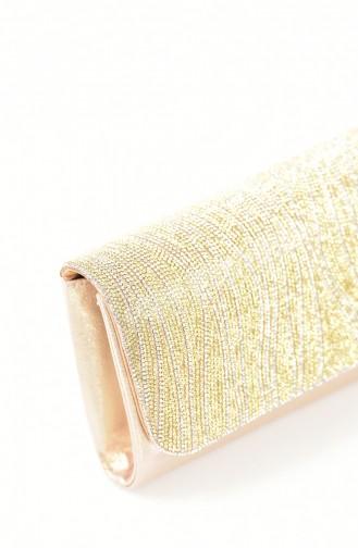 Damen Abendtasche mit Swarovski Steindetail 0428-01 Gold 0428-01