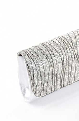 Ladies Evening Bag with Stones 0428-02 Silver 0428-02