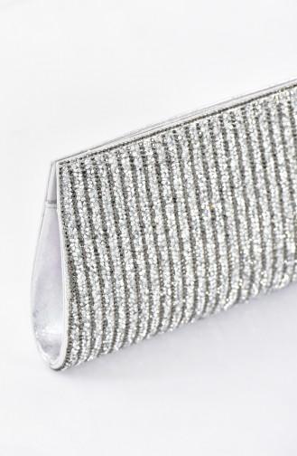 Damen  Abendtasche mit Swarovski Steindetail  0457-02 Silber 0457-02