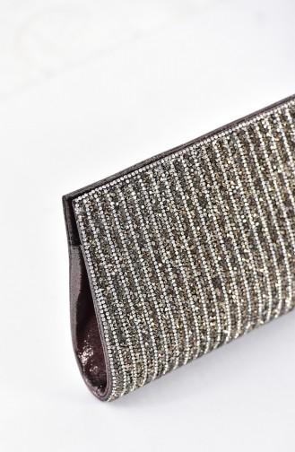 Damen Abendtasche mit Swarovski Steindetail  0457-03 Platin 0457-03