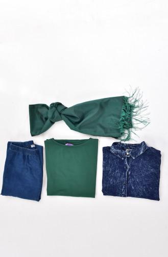 Oversize T-shirt Hijab 0414-02 Vert 0414-02