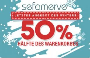Winterangebot 50% hälfte des Warenkorbes
